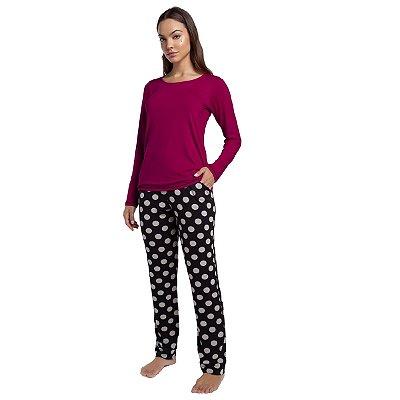 Pijama Feminino de Inverno com Bolso Vinho e Poá