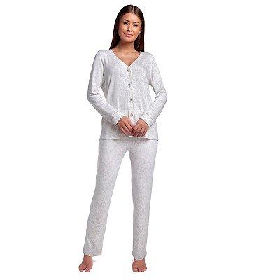 Pijama Feminino de Inverno Aberto Arabescos