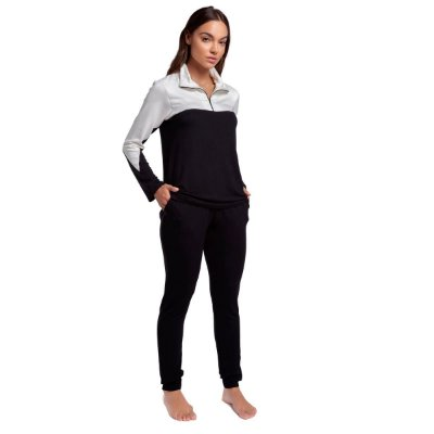 Pijama Feminino de Inverno Preto com Branco e Bolsos