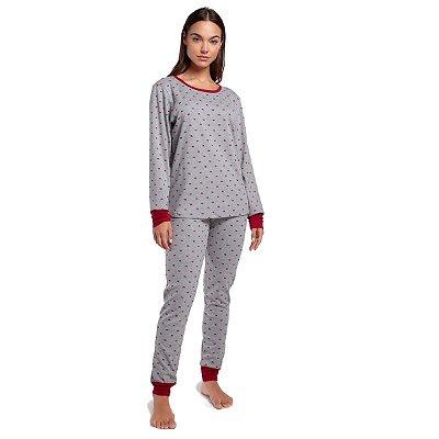 Pijama Feminino de Inverno Bear Wine com Punho