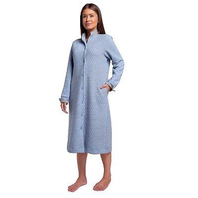 Robe Feminino de Inverno Azul Jeans com Botão e Bolso