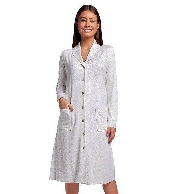 Robe Feminino de Inverno Arabescos com Botão e Bolso