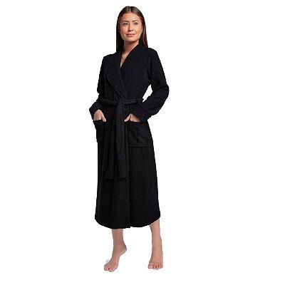 Robe Feminino de Inverno Soft Preto com Bolso