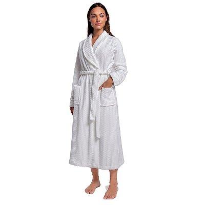 Robe Feminino de Inverno Soft Branco com Bolso