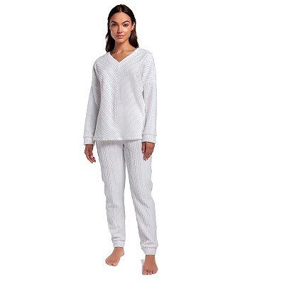 Pijama Feminino de Inverno Soft Branco com Punho