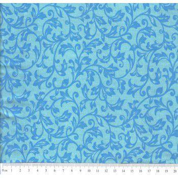 Tecido Tricoline de Ramos (Azul Royal e Fundo Turquesa) Cor 12 (50 cm x 1,50 m)