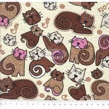 Tecido Tricoline Estampado Cat (Marrom com Rosa) Cor 03 (50 cm x 1,50 m)