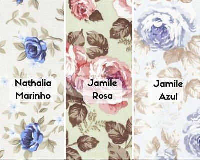 Tecido Tricoline  Floral Nathalia e Jamile - 100% Algodão - Fio 40