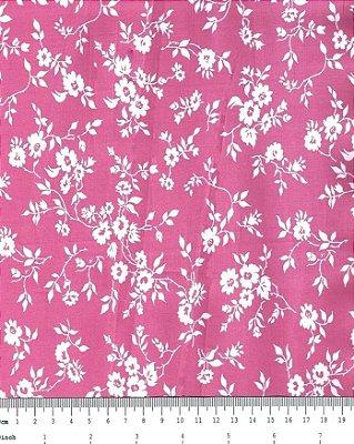 Tecido Tricoline Floral - Florzinhas Brancas- Fundo Pink -Preço de 50 cm x 150 cm