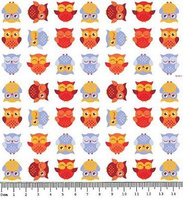 Tecido Tricoline  Infantil Corujas - Tom Alaranjado - 50 cm x 150 cm