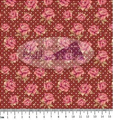 Tecido Tricoline Estampa Floral c/ Poá Carinho Cor  07 (Bordo) - 50 cm x 150 cm