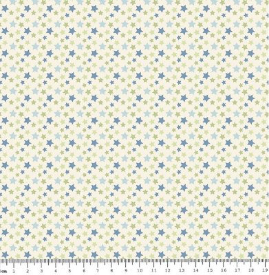 Tecido Tricoline Estampa Estrelinhas Tricolores com Azul Premium - 50 cm x 150 cm