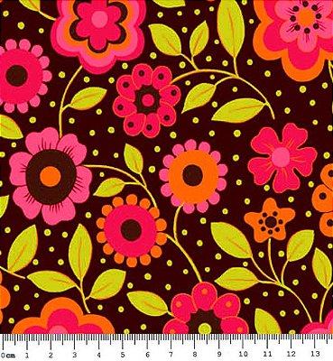Tecido Tricoline Estampa Floral c/ Poá (Fundo Café) - Coleção Alegria - 50 cm X 150 cm