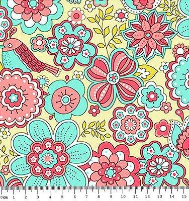 Tecido Tricoline  Estampa Floral Fundo Areia - Coleção Jardim Secreto - 50 cm X 150 cm