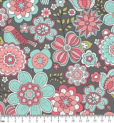 Tecido Tricoline  Estampa Floral Fundo Cinza Escuro - Coleção Jardim Secreto - Preço de 50 cm X 150 cm