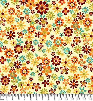 Tecido Tricoline  Estampa Floral Fundo Creme - Coleção Coruja Colorida - 50 cm X 150 cm
