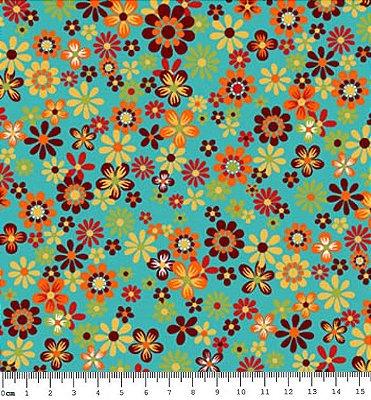 Tecido Tricoline  Estampa Floral Fundo Azul - Coleção Coruja Colorida (50 cm X 150 cm)