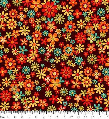 Tecido Tricoline  Estampa Floral Fundo Café - Coleção Coruja Colorida - 50 cm X 150 cm