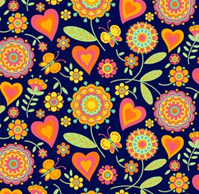 Tecido Tricoline  Estampa Floral e Corações (Fundo Azul) - Coleção Dias Felizes - 50 cm X 150 cm