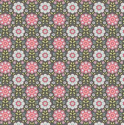 Tecido Tricoline  Estampa Floral Fundo Cinza - Coleção Jardim Secreto - Preço de 50 cm X 150 cm