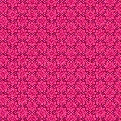 Tecido Tricoline  Estampa Floral Rosa Pink - Coleção Mourisco - 50 cm X 150 cm