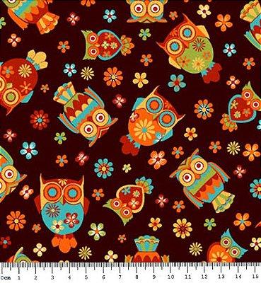 Tecido Tricoline  Estampa de Corujas (Fundo Café) - Coleção Coruja Colorida - 50 cm X 150 cm