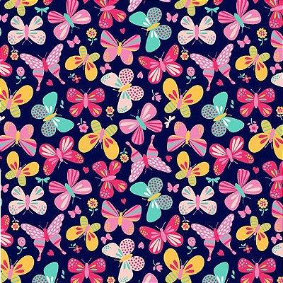 Tecido Tricoline  Estampa de Borboletas (Fundo Marinho) - Coleção Jardim de Borboletas - 50 cm X 150 cm