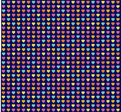 Tecido Tricoline  Estampa Corações Coloridos - Coleção Dias Felizes (Fundo Marinho) - 50 cm X 150 cm