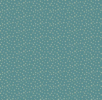 Tecido Tricoline  Estampa de Bolhinhas (Fundo Verde) - Coleção Raposa Retrô - 45 cm X 150 cm