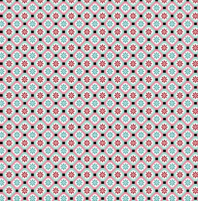 Tecido Tricoline  Estampa Vitral - Coleção Bonequinha Japonesa Kokeshi - 50 cm X 150 cm