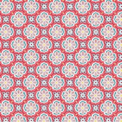 Tecido Tricoline  Estampa Vintage em Vermelho e Rosa - Preço de 50 cm X 150 cm
