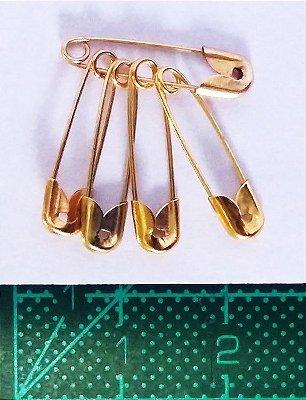 Alfinete de Segurança Importado - 2 cm - Dourado - 100 Unidades