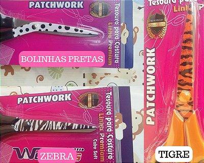 Tesoura Westpress Decoradas (Bolinhas Pretas/ Tigre/ Zebra) -  Cabo Soft