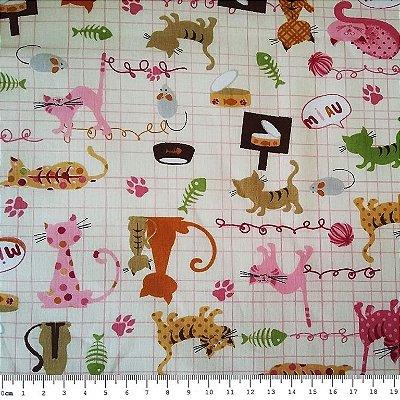 Tecido Tricoline  Estampa Infantil de Gato Fundo Cru - 50 cm X 140 cm