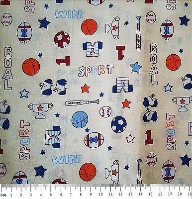 Tecido Tricoline  Estampa Infantil de Esportes - Fundo Creme - 50 cm x 140 cm