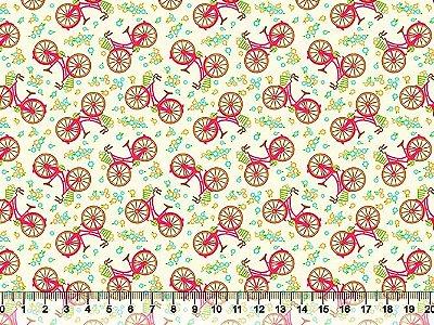 Tecido Tricoline  Estampado Bicicletas Pink (Fundo Bege) - Preço de 50 cm X 150 cm