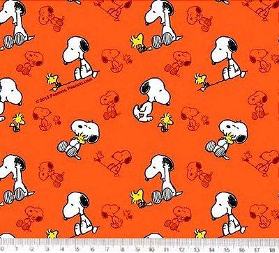 Tecido Tricoline Infantil Snoopy (Fundo Laranja) - Preço de 50 cm x 150 cm