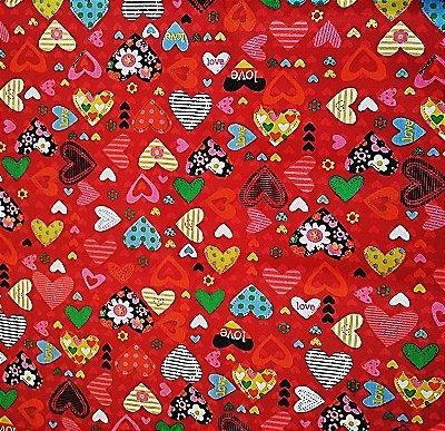 Tecido Tricoline  Estampa Corações Apaixonados (Fundo Vermelho) - 50 cm X 150 cm