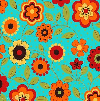 Tecido Tricoline Estampa Floral c/ Poá (Fundo Azul) - Coleção Alegria - Preço de 50 cm X 150 cm