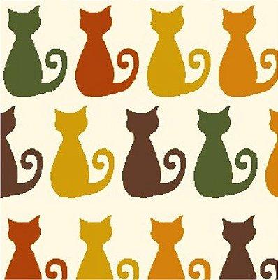 Tecido Tricoline  Estampa Infantil do Gatinho Miau (Fundo Creme) - 50 cm X 150 cm