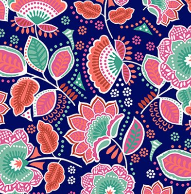 Tecido Tricoline Estampa Floral - Coleção Amor Urbano (Fundo Azul Marinho) - 50 cm X 150 cm