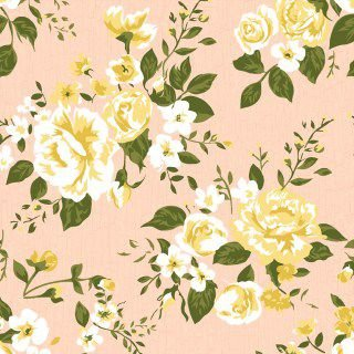 Tecido Tricoline Floral Paris Rosa Antigo Premium - 50 cm x 150 cm