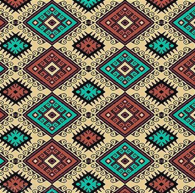 Tecido Tricoline  Estampa Coleção Los Andes (Fundo Creme) - Preço de 45 cm X 150 cm