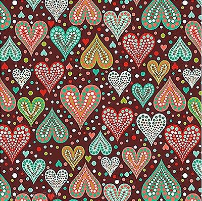 Tecido Tricoline  Estampa Corações (Fundo Café) - Coleção Amor Urbano - 50 cm X 150 cm