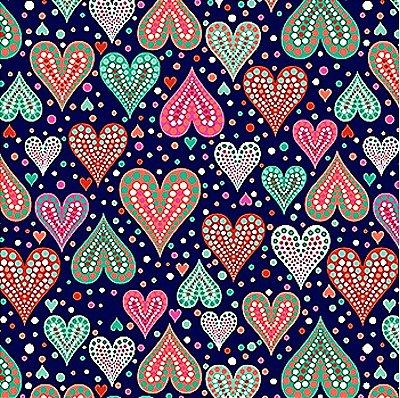 Tecido Tricoline  Estampa Corações (Fundo Marinho) - Coleção Amor Urbano - 50 cm X 150 cm