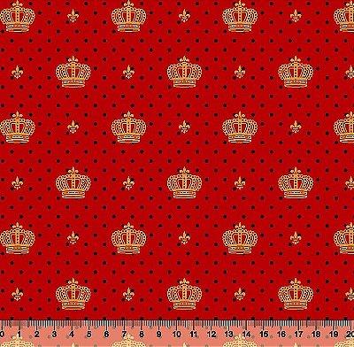 Tecido Tricoline  Estampa de Coroa Dourada com Poá Preto (Fundo Vermelho) 50 cm X 150 cm