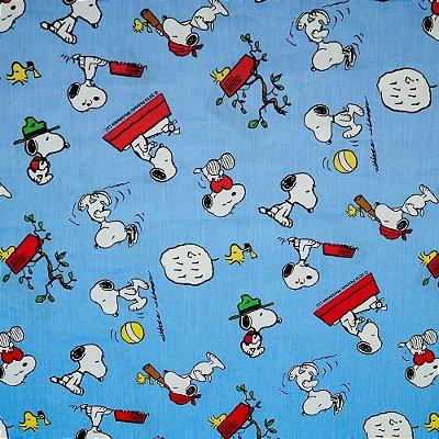 Tecido Tricoline Infantil Snoopy - Fundo Azul Grande - Preço de 50 cm x 150 cm