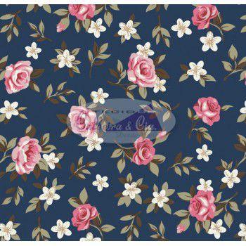 Tecido Tricoline Estampa Florido  Nathalia (Fundo Marinho) - Corte Mínimo de 50 cm x 150 cm