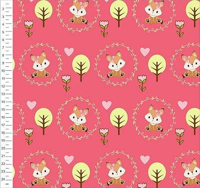 Tecido Digital - Estampa Raposa Rosa e Fundo Liso - 50cm x 150cm