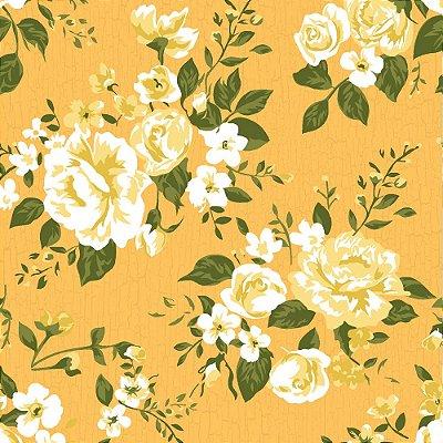 Tecido Tricoline Estampa Floral Paris- Fundo Caramelo - Preço de 50cm x 150cm